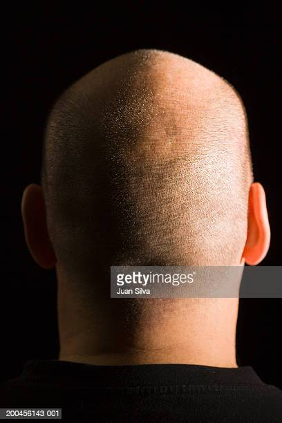 mature man with shaved head, close-up, rear view - completely bald stock pictures, royalty-free photos & images