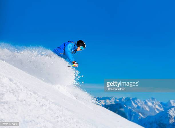 mature men off piste skiing powder snow   sunny ski resorts - freestyle skiing stock pictures, royalty-free photos & images