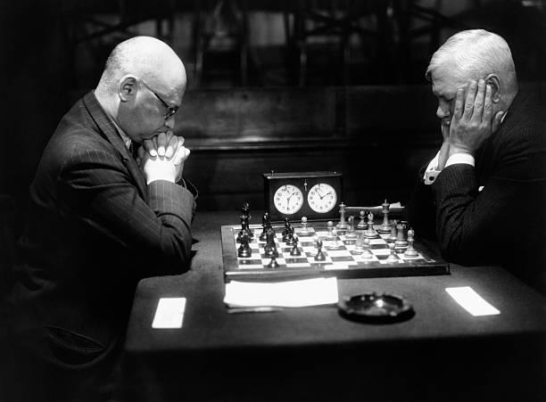 Mature Men Playing Chess, Profile (B&W) Wall Art
