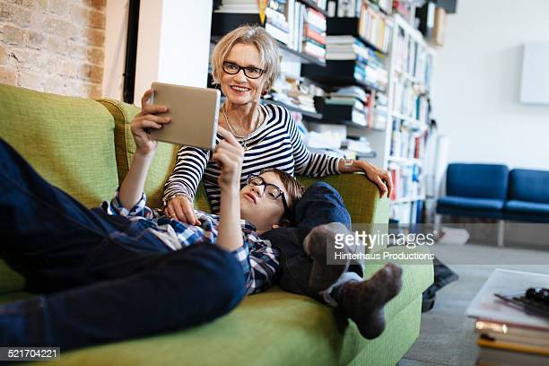 Mature Mother And Son Browsing The Internet