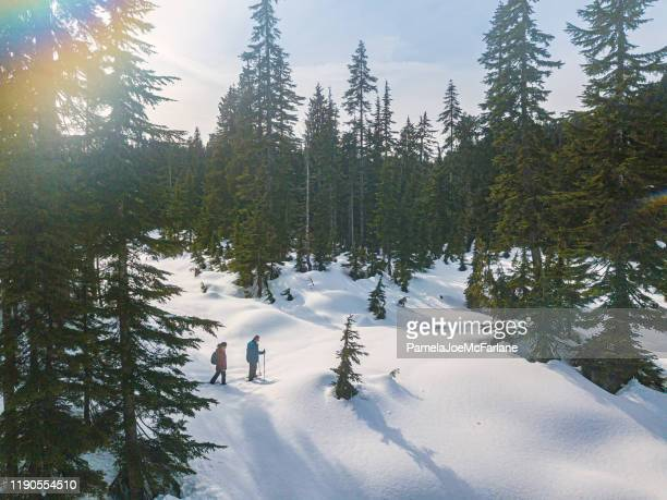 mature, multi-ethnic couple snowshoeing in fresh snow through alpine forest - vancouver canada stock pictures, royalty-free photos & images