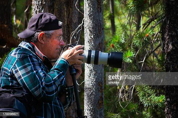 Mature Photographer Stalks Wildlife in Forest