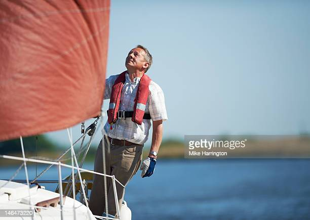 Mature Sailor on Yacht