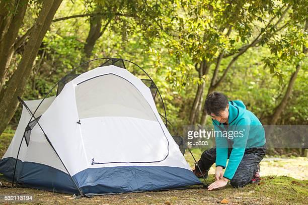 ältere ambiente ein zelt für camping - präfektur okayama stock-fotos und bilder