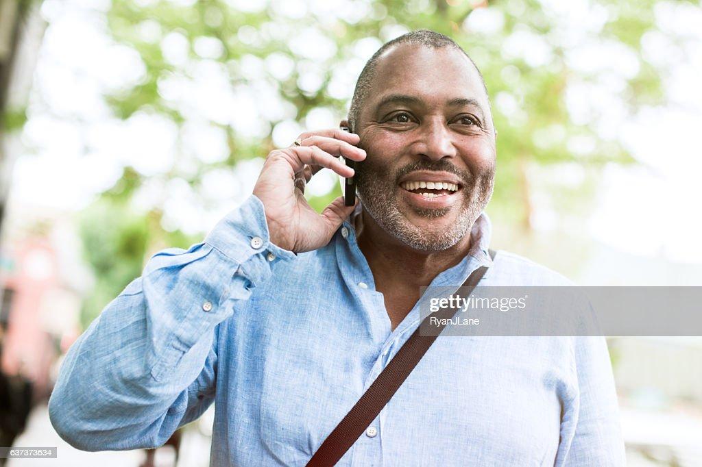 Mature Smiling Man Outdoors : Stock Photo
