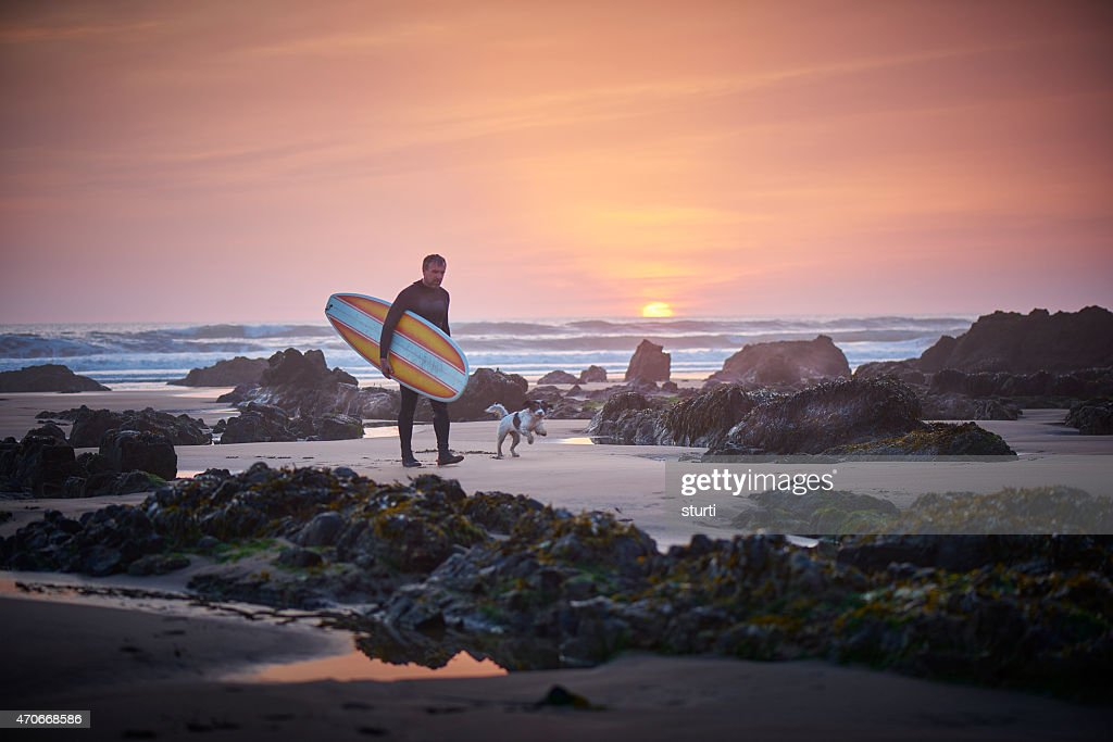 c40a8d83de Mature Surfer Leaving The Surf At Sunset Greeted By Dog Stock Photo ...
