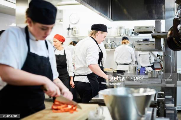 Mature teacher with chef students cooking in commercial kitchen