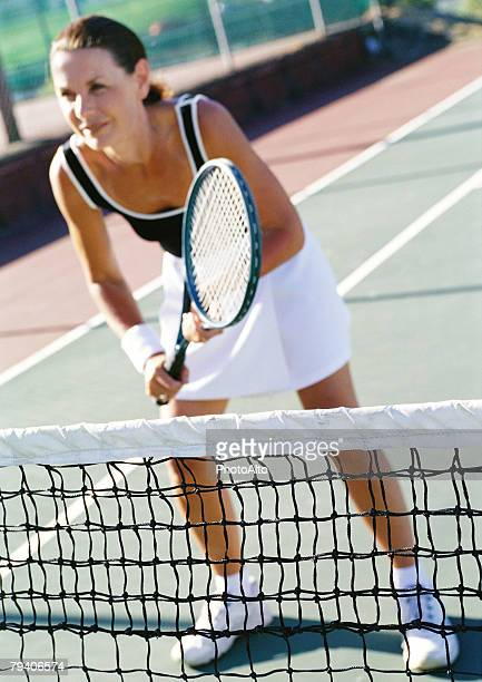 mature tennis player - women tennis stock photos and pictures