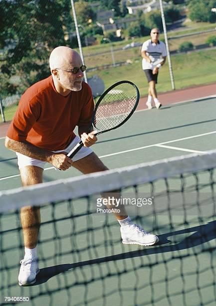 Mature tennis player