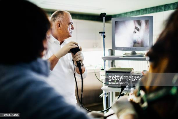 Mature veterinarian using endoscope
