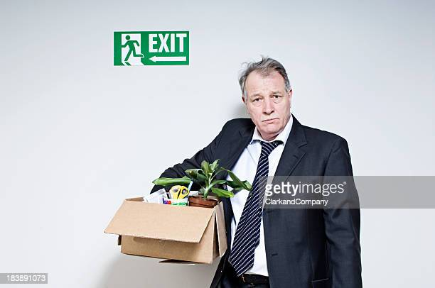 mature white collar male just been fired - being fired stock pictures, royalty-free photos & images