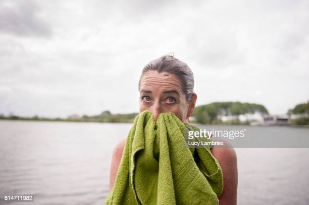 Mature woman after swimming in open water