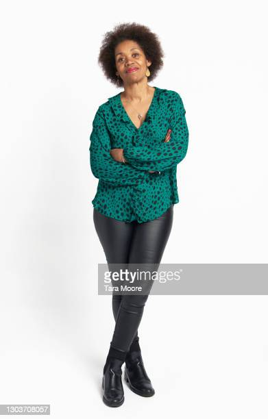 mature woman against white background - full length stock pictures, royalty-free photos & images