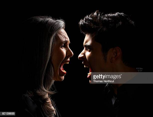 Mature Woman and Teen Boy Yelling