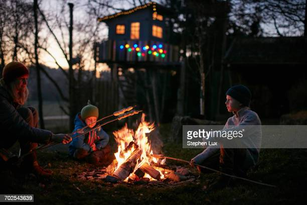 mature woman and two sons toasting marshmallows on campfire at night - lagerfeuer stock-fotos und bilder