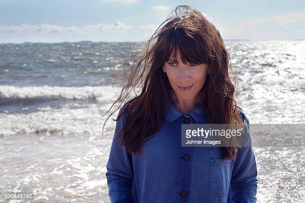 Mature woman at sea