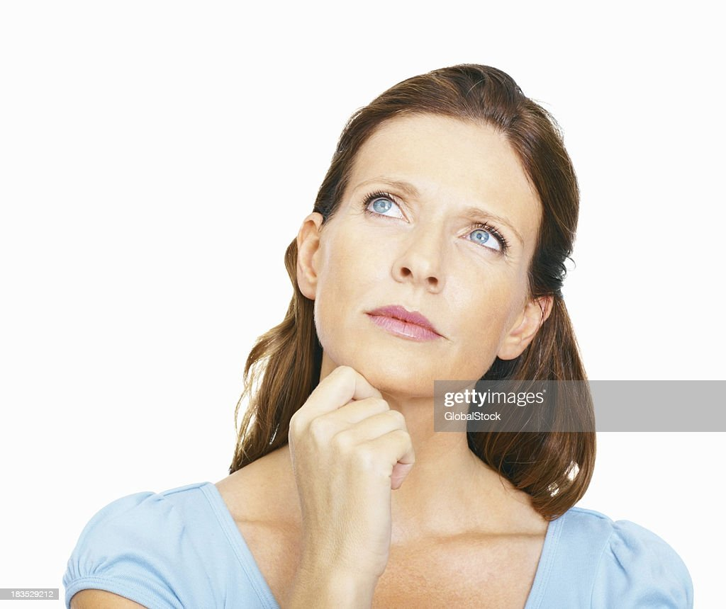 Mature woman, deep in thought : Stock Photo