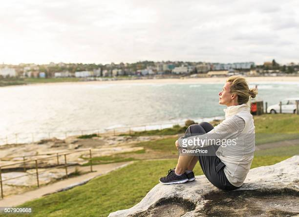Mature woman enjoying the ocean view Sydney Australia
