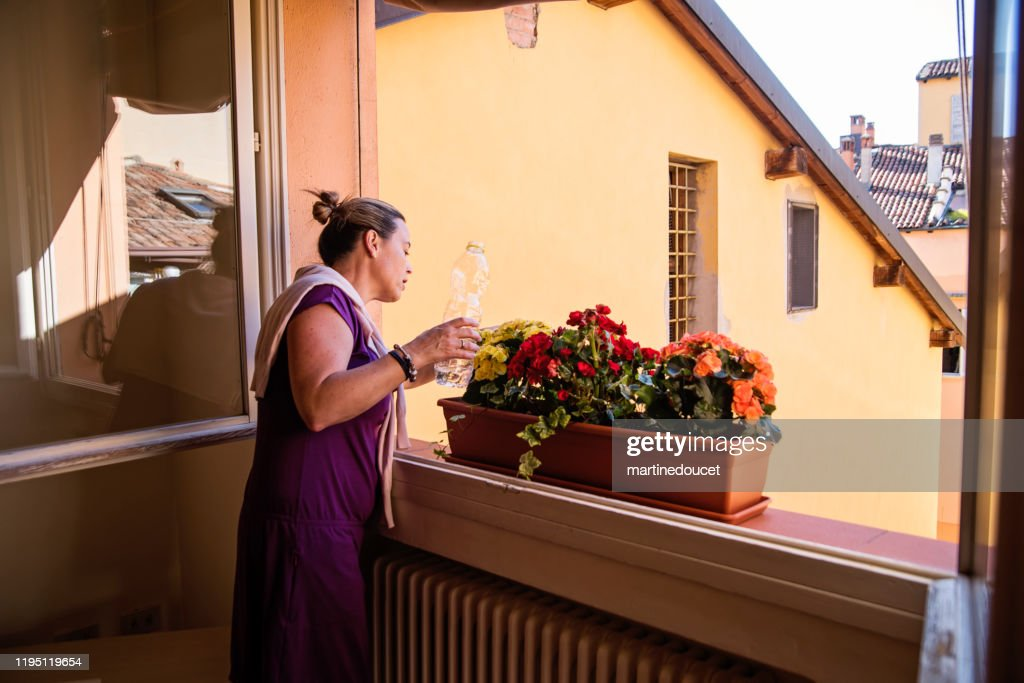 Mature woman gardening in her appartement. : Stock Photo