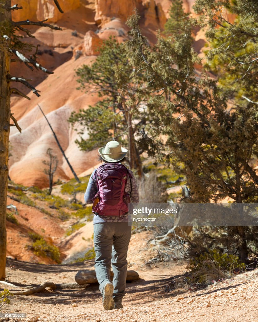 Mature woman hiking Bryce Canyon National Park Queens Garden trail. : Stock Photo