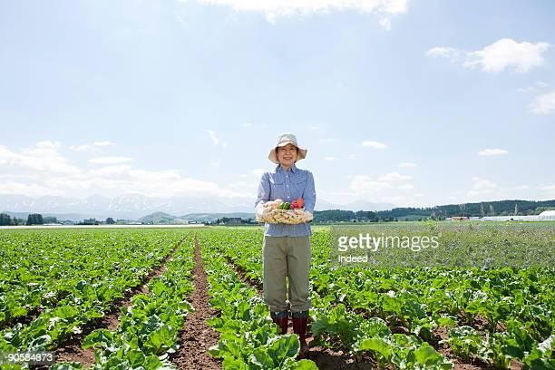 mature woman holding basket in field - 田畑 ストックフォトと画像