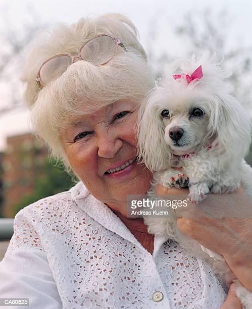 mature woman  holding dog - poodle - fotografias e filmes do acervo