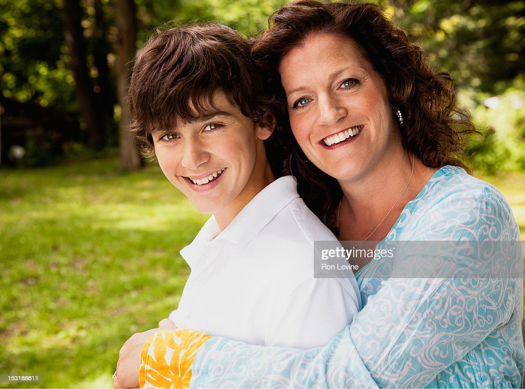 Mature woman and teenage boy