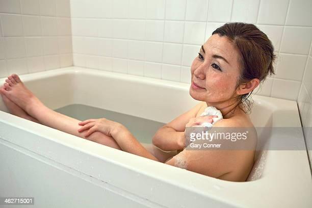 Mature woman in bath