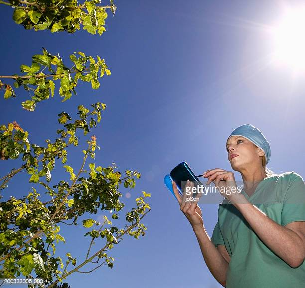 mature woman in in surgical scrubs using pda, looking at poison oak - poison oak stock pictures, royalty-free photos & images