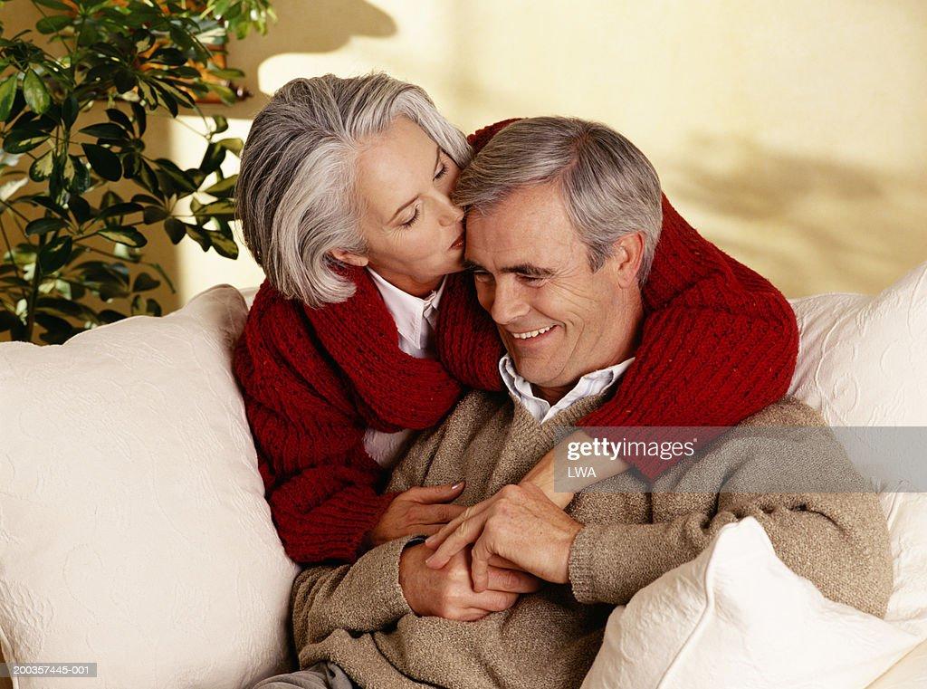 Mature women kissing women