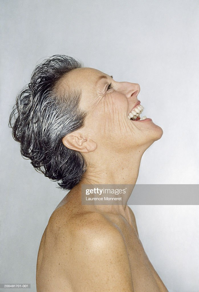 Mature Woman Laughing Naked Closeup Closeup Side View -1088