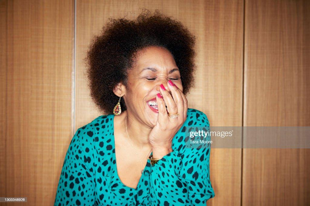 mature woman laughing : Stock Photo