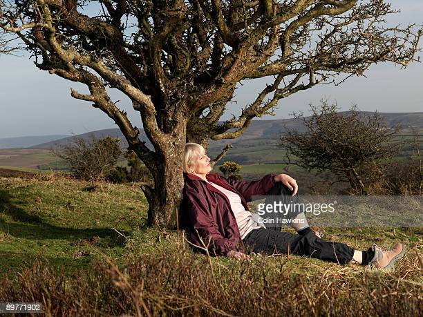 mature woman leaning against tree - colin hawkins stock pictures, royalty-free photos & images