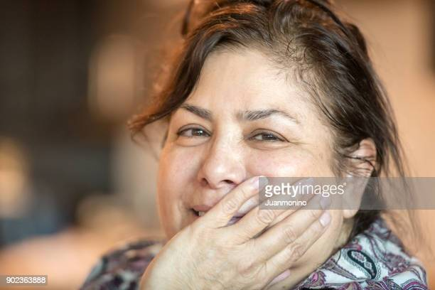 mature woman looking at the camera - fat old lady stock photos and pictures