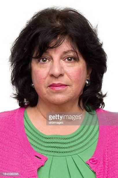 mature woman mug shot portrait - short hair for fat women stock pictures, royalty-free photos & images