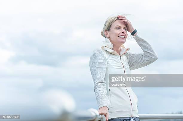 Mature woman outdoors.