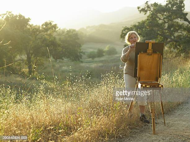 Mature woman painting on easel on edge of field