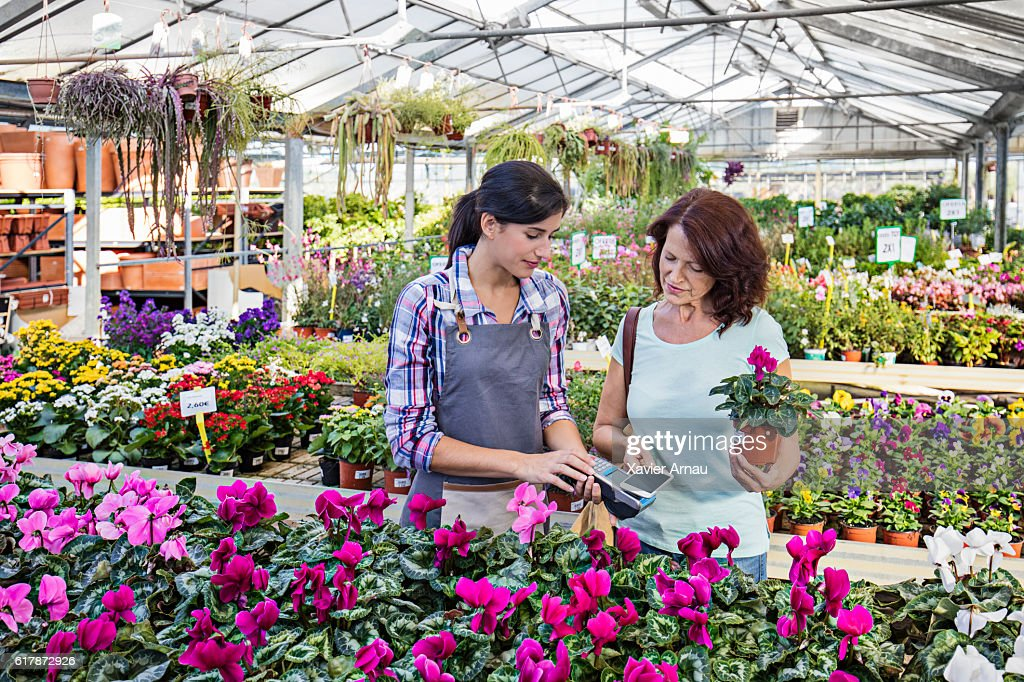 Mature woman paying for purchase in garden store : Stock Photo
