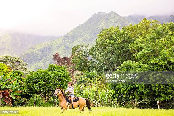 Mature woman riding horse in field