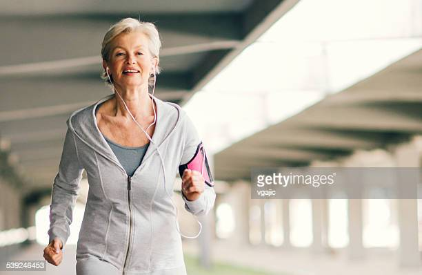 Mature Woman Running.