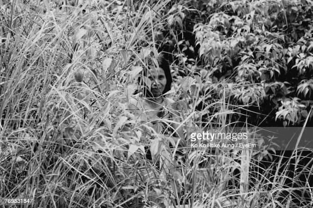 mature woman seen through plants - ko ko htike aung stock pictures, royalty-free photos & images