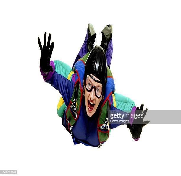 Mature woman skydiving, digitally enhanced