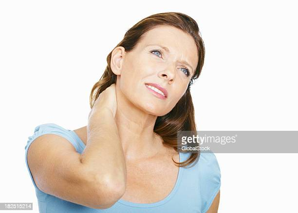 Mature woman suffering from neck ache