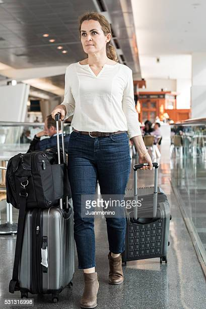 mature woman travelling