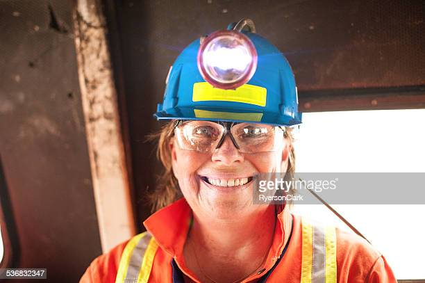 Mature Woman Underground Miner with Headlamp.