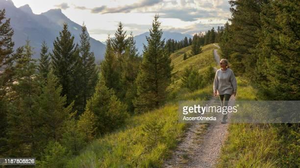 volwassen vrouw loopt naar beneden trail in de ochtend - actieve levenswijze stockfoto's en -beelden