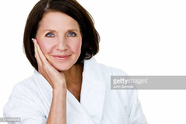 Mature woman wearing a bathrobe