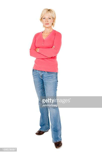 mature woman with crossed arms - isolated - blank expression stock pictures, royalty-free photos & images