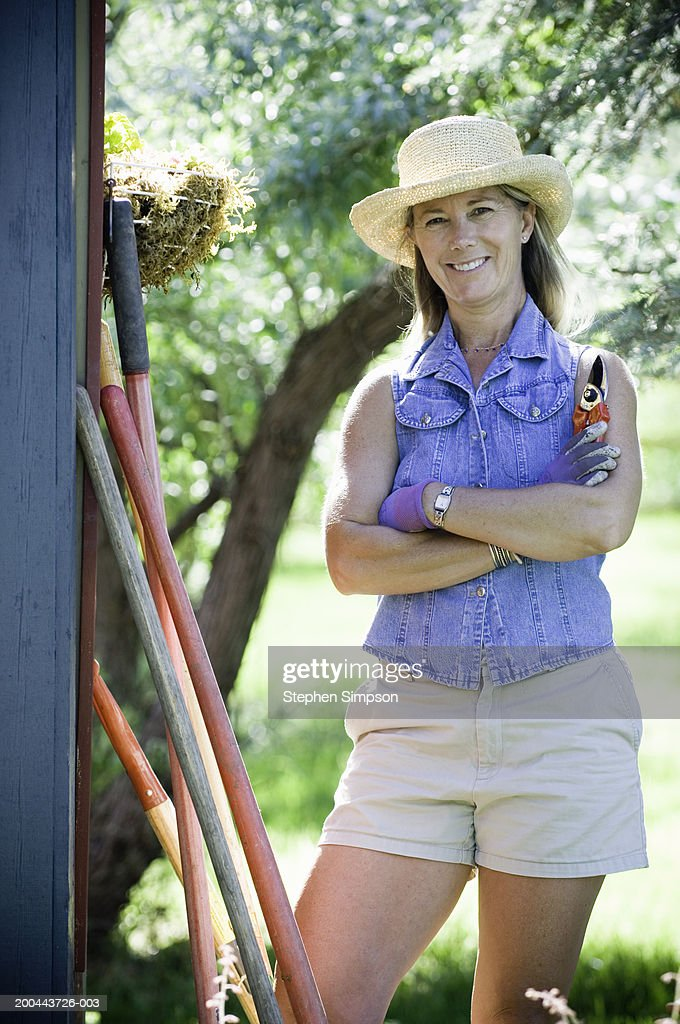 Mature Woman With Gardening Gear, Portrait : Stock Photo