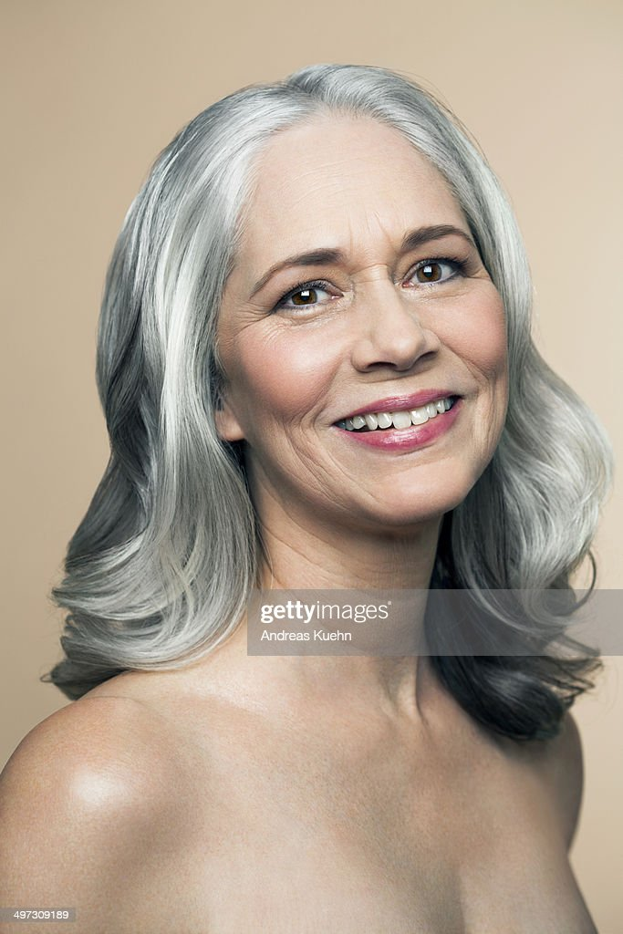 Mature Woman With Grey Hair Smiling Portrait Stock Photo  Getty Images-2796
